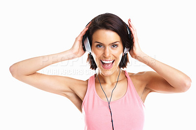 Buy stock photo Isolated studio shot of a happy teenage girl enjoying music