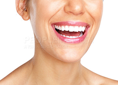 Buy stock photo Cropped image of a young woman smiling face against white background
