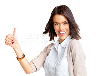Buy stock photo Portrait of a happy young female gesturing thumbs up sign against white background