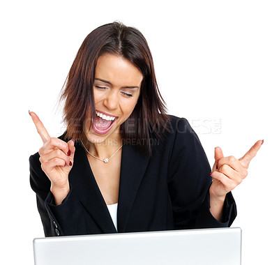 Buy stock photo Portrait of an excited businesswoman enjoying success while working on laptop against white background