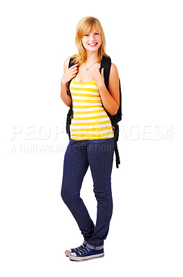 Buy stock photo Isolated full-body portrait of a beautiful young female student.