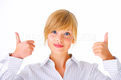 Buy stock photo Thumbs up - Young female - Portrait of an attractive young woman giving the thumbs-up, isolated on a white background..