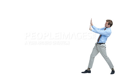 Buy stock photo Studio shot of a businessman struggling to support copyspace