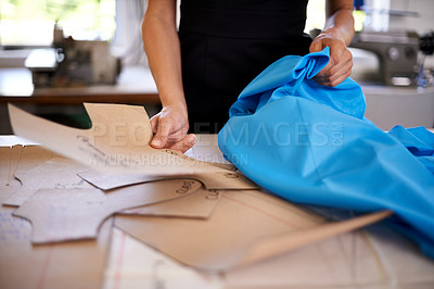 Buy stock photo Cropped shot of a female seamstress at work