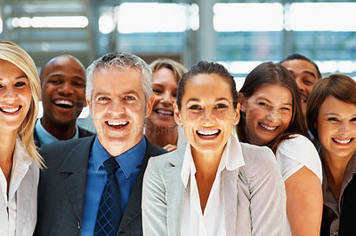 Buy stock photo Group of ecstatic colleagues indoors