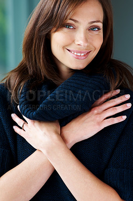 Buy stock photo Closeup portrait of a pretty young woman posing confidently