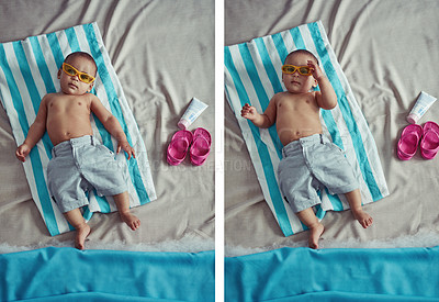 Buy stock photo Composite concept shot of an adorable baby boy lying on a towel at a make believe beach