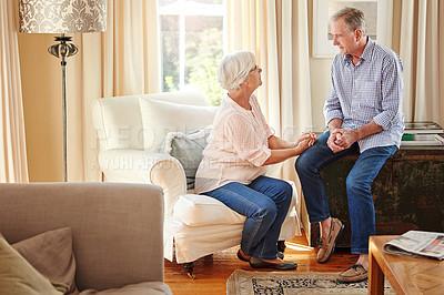Buy stock photo Full length shot of a senior couple at home