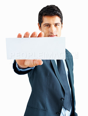 Buy stock photo Portrait of serious business man holding blank note card