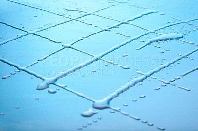 Buy stock photo Rows of water drops making checkered pattern against blue background