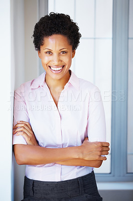 Buy stock photo Cheerful young business woman with hands folded