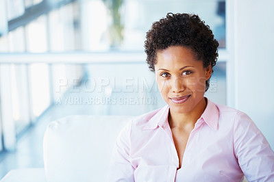 Buy stock photo Confident young business woman relaxing on couch