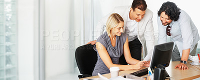 Buy stock photo Young business woman showing new plan to her team