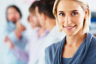 Buy stock photo Closeup of attractive business woman with group of people in background - copyspace