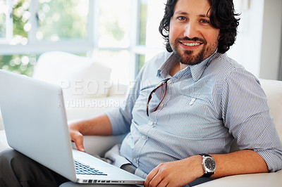 Buy stock photo Young business man smiling with laptop