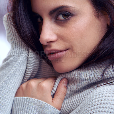 Buy stock photo Closeup of a beautiful brunette in winter clothing