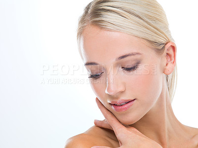 Buy stock photo A young woman with beautiful skin isolated on white