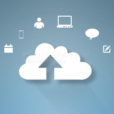 Buy stock photo Conceptual image representing modern cloud computing