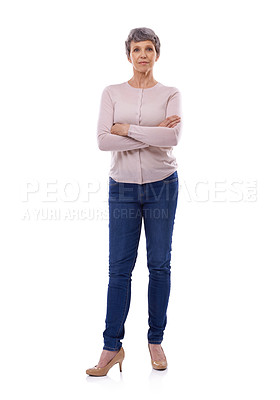 Buy stock photo Studio portrait of a confident mature woman against a white background