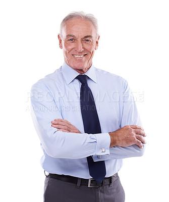 Buy stock photo Studio portrait of a senior businessman against a white background