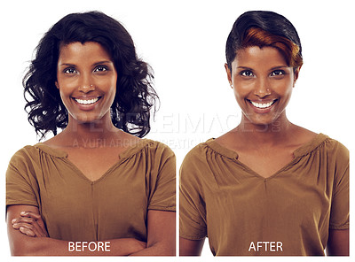 Buy stock photo Studio before and after shot of a beautiful young woman