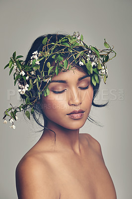 Buy stock photo Studio shot of a beautiful young woman wearing a head wreath