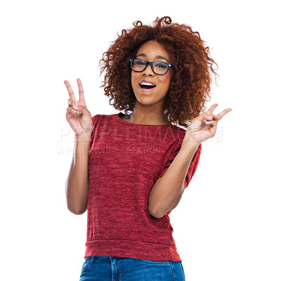 Buy stock photo Cropped studio portrait of a beautiful young woman showing the peace sign