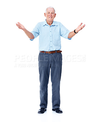 Buy stock photo Studio portrait of an elderly man with his arms raised isolated on white