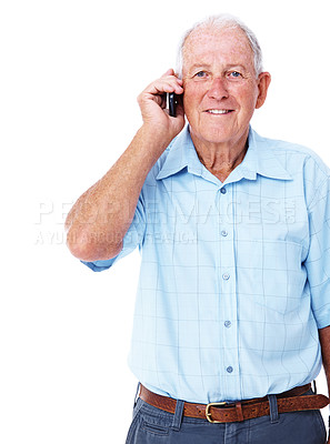 Buy stock photo Studio shot of a smiling elderly man talking on a cellphone isolated on white