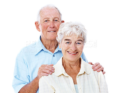 Buy stock photo Studio portrait of a happy elderly couple isolated on white