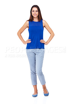 Buy stock photo Full length portrait of an attractive young woman standing with her hands on her hips