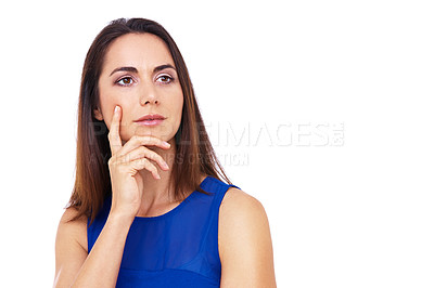 Buy stock photo Cropped shot of an attractive young woman looking thoughtful with her hand on her chin