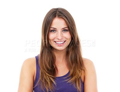 Buy stock photo Portrait of a pretty woman against a white background -Studio Shot