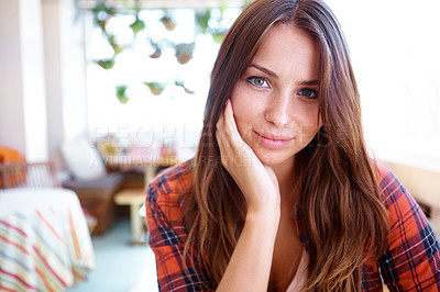 Buy stock photo Portrait of a pretty caucasian woman dressed in casual closing