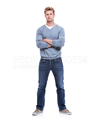 Buy stock photo A handsome man isolated on white with his arms folded