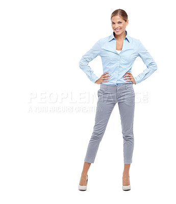 Buy stock photo Confident young blonde woman standing with her hands on her hips - isolated