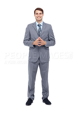Buy stock photo Handsome young businessman holding his hands in a steeple