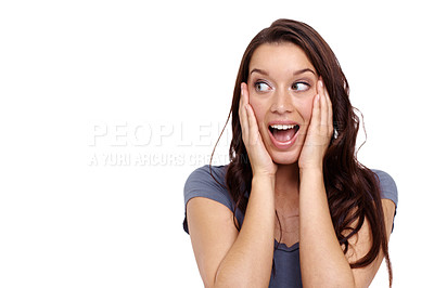 Buy stock photo Attractive young woman looking surprised while isolated on a white background
