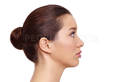 Buy stock photo Profile of a natural beauty looking away while isolated on white