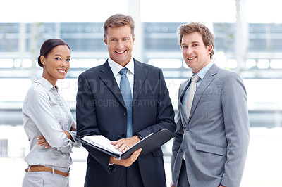 Buy stock photo Portrait of an experienced business team going over a brief together