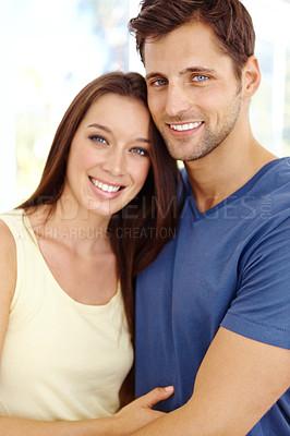 Buy stock photo Portrait of a smiling happy couple
