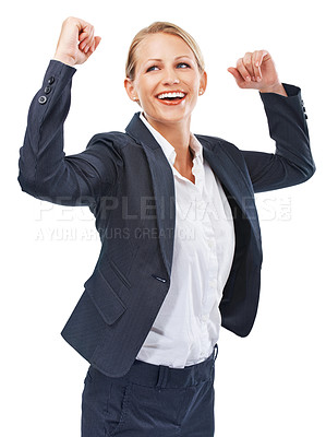Buy stock photo A beautiful young businesswoman expressing excitement