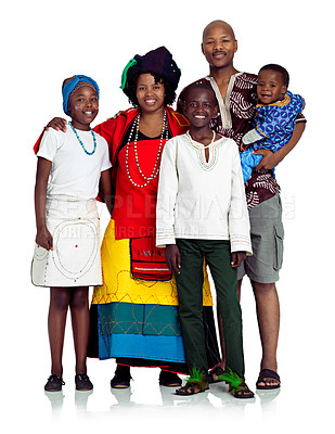Buy stock photo Studio shot of a traditional african family isolated on white