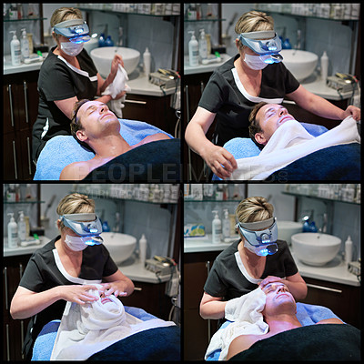 Buy stock photo Composite shot of a man getting a facial treatment at a beauty clinic