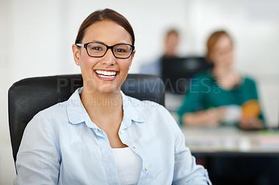 Buy stock photo Shot of a beautiful female designer smiling at the camera