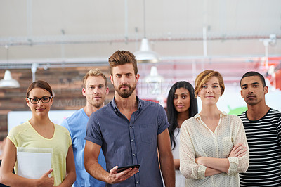 Buy stock photo Portrait of a team of confident colleagues in a casual working environment