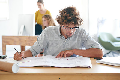Buy stock photo A creative professional busy designing in the office