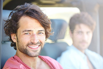 Buy stock photo Two friends happy at having finally reached their destination