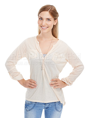 Buy stock photo Studio portrait of an attractive young woman isolated on white