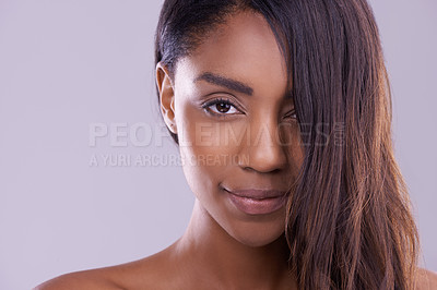 Buy stock photo Portrait of a beautiful young woman in the studio